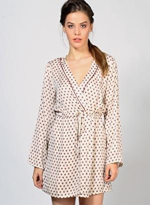 Goldie Uzun Kollu V Yaka Mini Elbise